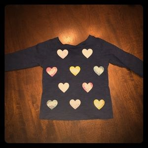 Navy sequined heart long sleeve